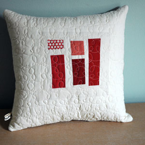 red patchwork pillow